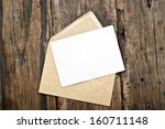 blank card and envelope on old... | Shutterstock . vector #160711148