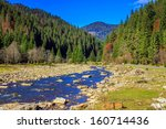 autumn landscape. rocky shore of the river that flows near the pine forest at the foot of the mountain. - stock photo