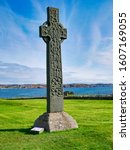 Small photo of Iona, UK - Sep 19, 2017: A Celtic Cross at the historic Abbey of Iona in the Inner Hebrides, Scotland, UK