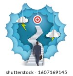 businessman walking up stairway ... | Shutterstock .eps vector #1607169145