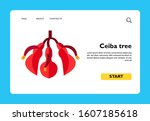 ceiba tree flower vector icon.... | Shutterstock .eps vector #1607185618