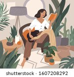 sweet girl reading a book and... | Shutterstock .eps vector #1607208292