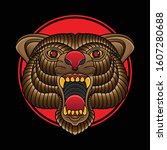traditional bear head tattoos ... | Shutterstock .eps vector #1607280688