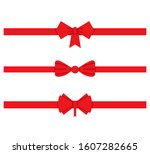 red ribbons  red bows for gift...   Shutterstock .eps vector #1607282665