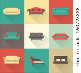 vector sofa icons set | Shutterstock .eps vector #160728338