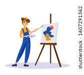 woman artist painting colorful... | Shutterstock .eps vector #1607291362