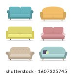 set of sofa or couch. flat... | Shutterstock .eps vector #1607325745
