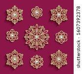 vintage vector set of jewelry...   Shutterstock .eps vector #1607392378