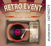 vector retro party poster with... | Shutterstock .eps vector #160740275