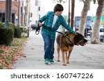 a 10 year old boy walking a big ... | Shutterstock . vector #160747226