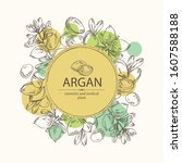 background with argan  leaves...   Shutterstock .eps vector #1607588188
