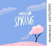 hello spring text on beautiful... | Shutterstock .eps vector #1607615092