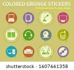 computer equipment colored... | Shutterstock .eps vector #1607661358