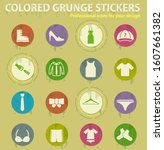 clothes colored grunge icons... | Shutterstock .eps vector #1607661382