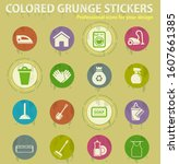 cleaning company colored grunge ... | Shutterstock .eps vector #1607661385