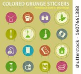 cleaning company colored grunge ... | Shutterstock .eps vector #1607661388