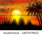 a tropical sunset with palm... | Shutterstock .eps vector #1607679622
