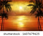 a tropical sunset or sunrise... | Shutterstock .eps vector #1607679625