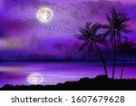 illustration of tropical beach... | Shutterstock .eps vector #1607679628