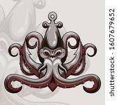 kraken octopus esport mascot... | Shutterstock .eps vector #1607679652