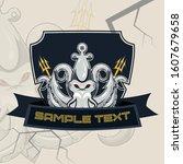 kraken esport mascot badge... | Shutterstock .eps vector #1607679658