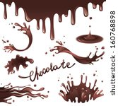 chocolate splashes  set | Shutterstock .eps vector #160768898