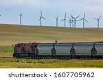 Row Of Metallic Wagons Of A...