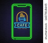 Cafe Logo With Phone Neon Light ...