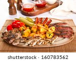 mixed grilled meat platter and... | Shutterstock . vector #160783562