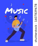 Young man playing the guitar love the music singer rockman - stock vector