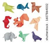 origami animals vector set.... | Shutterstock .eps vector #1607864032