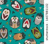 arctic seamless pattern with... | Shutterstock .eps vector #1607881132