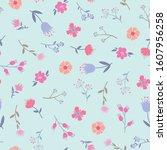 spring themed seamless pattern...   Shutterstock .eps vector #1607956258