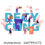 recycling concept. people throw ... | Shutterstock .eps vector #1607991172