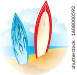 illustration of a surfboards on ...   Shutterstock .eps vector #1608000592