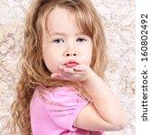 beautiful little girl posing... | Shutterstock . vector #160802492