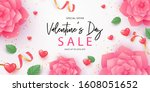 happy valentine's day banner.... | Shutterstock .eps vector #1608051652