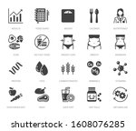 nutritionist flat glyph icons... | Shutterstock .eps vector #1608076285
