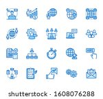outsource flat line icons set.... | Shutterstock .eps vector #1608076288