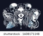 chicano tattoo style vintage... | Shutterstock .eps vector #1608171148