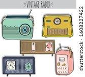 vintage radios clip art ... | Shutterstock .eps vector #1608227422