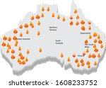 australia bush fire and map....   Shutterstock .eps vector #1608233752
