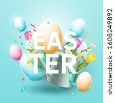modern easter background with... | Shutterstock .eps vector #1608249892
