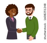 black business woman and white... | Shutterstock .eps vector #1608251248
