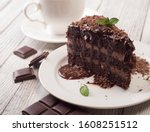 A Piece Of Chocolate Cake With...