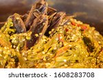 close up Northern Thai green chilli dip with giant water bug ( Lethocerus indicus Lep.-Serv.)