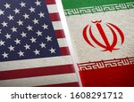 the flags of the usa and iran...   Shutterstock . vector #1608291712