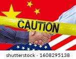caution tape over businessmen...   Shutterstock . vector #1608295138