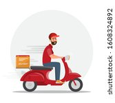 fast delivery man by red... | Shutterstock .eps vector #1608324892