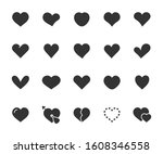 vector set of heart flat icons. ... | Shutterstock .eps vector #1608346558